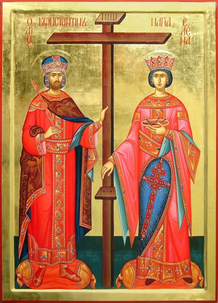Icoon van de HH Konstantijn en Helena, in onze parochiezaal geschilderd door Tsvetelina