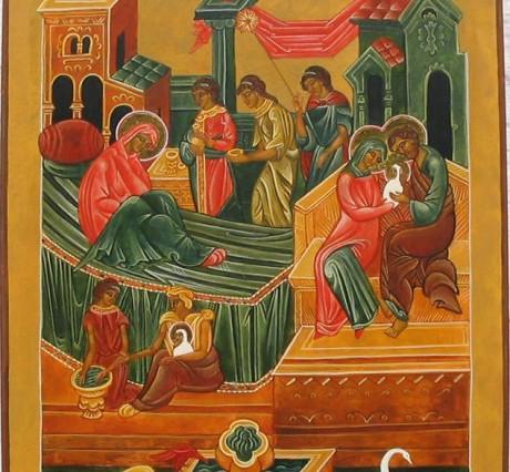 Icoon van de Geboorte van de Alheilige Moeder Gods en Maagd Maria